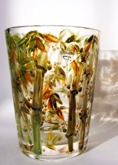 glass with bamboo
