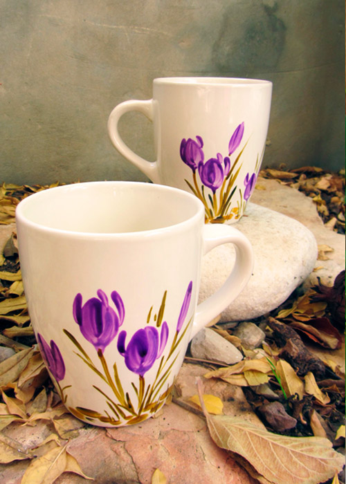 cups with crocus