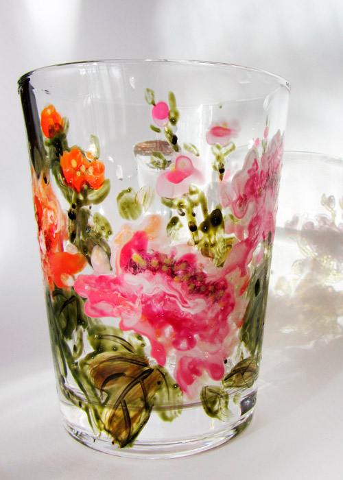 glass with peonies