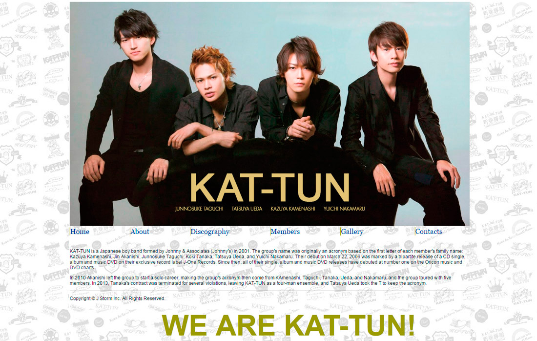 home page for We are KAT-TUN site